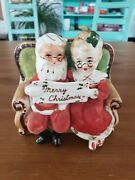 Vintage Napco Flocked Christmas Planter Santa And Mrs. Claus On Couch