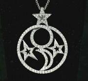 7000 Nini 18k White Gold Round Diamond Moon Star Circle Pendant 18and039and039 Necklace