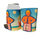 Donald Trump Novelty Can Cooler Koozie Flag Pole Red White Blue Miss Me Yet