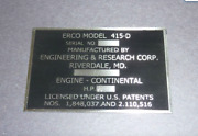 Erco Model 415-d Date Plate Ercoupe