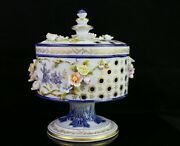 Giulia Mangani Porcelain Reticulated Footed Bowl / Compote With Lid And Flowers