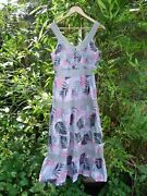 Bonmarche Pink Black Palm Leaves On White+fawn Trim Sundress Size12 Lined Cotton