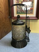 Antique Rockford Co. Silver Plated Crystal Pickle Caster Jar W Claw Tongs 662
