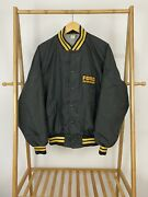 Vtg 80s Ford Tractors Equipment Patch Striped Trim Satin Bomber Jacket Xl Usa