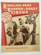 Vtg Ringling Bros Barnum Bailey Circus Magazine And Route Advertisement