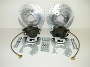Gm 10 And 12 Bolt Rear Disc Brake Conversion Kit Drilled And Slotted Rotors 4 Wheel