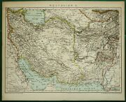 1895 Antique Map Of Persia, Iran. Irak. Middle East. Asia. 125 Years Old Chart