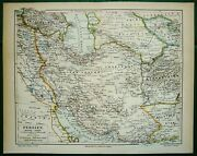 1890 Antique Map Of Persia, Iran. Irak. Middle East. Asia. 130 Years Old Chart