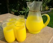 Vtg Yellow Blendo Frosted Glass Retro Drink Set Juice Pitcher And 6 Glasses Mcm