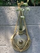 Vintage Art Pottery 70andrsquos Carved Sandstone Signed Hippie Chic Wall Vase W/macreme
