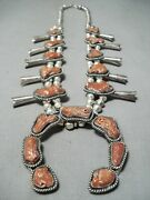 One Of Chunkiest Vintage Navajo Coral Sterling Silver Squash Blossom Necklace