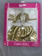 Barbie Gold Ball Gown - Nib Old Stock - Fashion Avenue Deluxe Clothes By Mattel