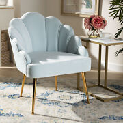 Cinzia Glam Luxe Art Deco Velvet Fabric Gold-finish Metal Seashell Accent Chair