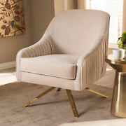 Amaya Glam And Luxe Art Deco Velvet Pleated Fabric Gold-finish Metal Lounge Chair