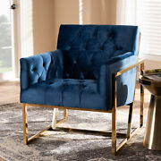 Milano Glam And Luxe Art Deco Fabric Upholstered Gold-finish Tufted Lounge Chair