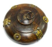 Old Vintage Handmade Round Shape Brass Fitted Box - Wooden Snuff Box. I71-135 Us