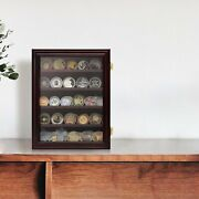 Challenge Coin Display Cabinet 5 Tiers Cherry Finish Chips Holder Rack W/ Window