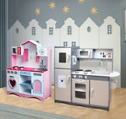Mccandreg Large Kids Wooden Play Kitchen Childrenand039s Play Pretend And Utensils Toys