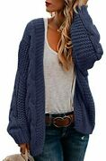 Ferrtye Womens Oversized Chunky Open Front Cardigan Sweaters Cable Knit Long Sle
