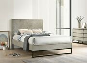 4pc Queen Size Bed Bedroom Furniture Gray Stone Wood Finish Bed Mid Century Look