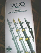 2 Taco Outrigger Poles 15and039 Tele Outriggers Silver W Gold Tip Deep Sea Fishing