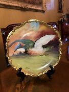 22k Gold Antique French Limoges Hand Painted Porcelain Charger Artist Mongers