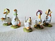 Lefton China Mother Goose Collection Lot Of 5 Figurines Porcelain Hand Painted