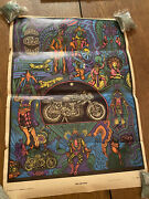 1968 Psychedelic 1 Speed Kills Time Motorcycle Blacklight Poster Celestial Art