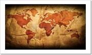 Antique World Map In Art Print / Canvas Print. Poster, Wall Art, Home Decor - H