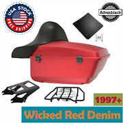 Advanblack Wicked Red Denim King Tour Pack Trunk Luggage For Harley 1997+