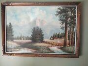 Canvas Wall Art Nature Frame Is Hand Carved Wood