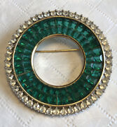 Crown Trifari Emerald Brooch - Gold Plated Highly Collectible Trifari Series