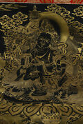 52and039and039 China Tibet Antique Thangka Painted God Of Wealth Handmade Thangka