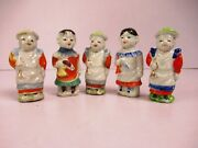 Vintage Porcelain Figurines Boys Holding Bugle In Hand Made In Japan 5 Pc F101