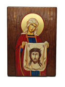 Veronica Hand Painted Icon Wood Holy Land Greece 30 Cm Jesus Gift Christianity