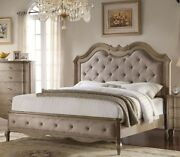 Beige Fabric Button Tufted Hb/fb Eastern King Size 1pc Bedroom Furniture Bed