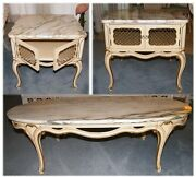 Vintage / Retro Marble Top French Provincial Style Furniture Coffee And End Tables