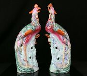 Pair Of Antique Chinese Porcelain Famille Rose Phoenix 14.5 Figurines