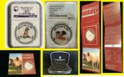 2006 2007 Ngc Ms70 Australia Year Of The Dog Pig Colorized 2 Oz Silver 2 Coin