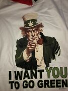 Vintage T Shirt - I Want You To Go Green Uncle Sam Mary Jane Cannabis Size Xl