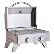 2 Burner Stainless Steel Bbq Tabletop Grill Outdoor Electric Rv Portable Cook