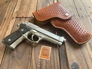 Alfonsos Brown Basketweave Leather Suede Lined Flap Holster For Beretta 92f 96d