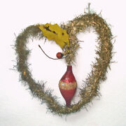 Victorian Tinsel And Glass Heart Christmas Ornament