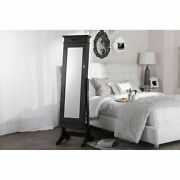 Bimini Wooden Free Standing Crown Moulding Cheval Mirror Jewelry Cabinet Armoire