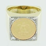 Gents 18kt Gol Diamond Mexican Coin Ring Size 7