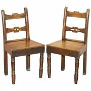 Pair Of Vintage English Oak Occasional Chape Hall Chairs Lovely Primate Patian