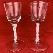 Pair Of Antique Georgian Lace And Spiral Cable Opaque Twist Stem Drinking Glasses