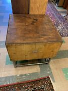 Electro-lam Quality Maple Butcher Block Table With Mid Modern Metal Base