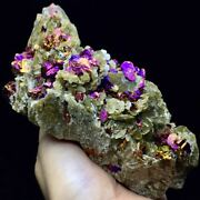 720g Very Rare Rainbows Pyrite And Mica Plate Symbiotic On The Rock Specimen/china