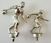 Vintage Bowling Trophy Figurines Male And Female Accurate Cast